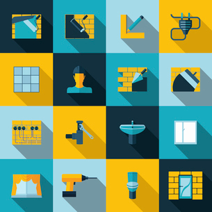 Home repair diy renovation icons set with wall building plumbing electricity isolated vector illustrのイラスト素材 [FYI03067556]