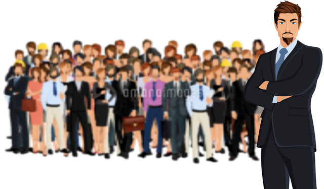 Large group of people adult professionals business team with attractive young man on foreground vectのイラスト素材 [FYI03067557]