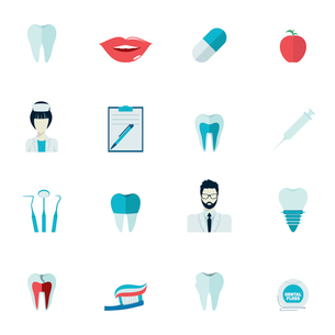 Dental health and caries teeth healthcare instruments dent protection flat icons set isolated vectorのイラスト素材 [FYI03067575]