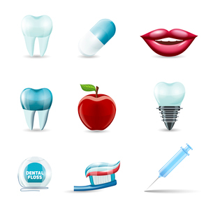 Dental health and caries teeth healthcare instruments dent protection realistic icons set isolated vのイラスト素材 [FYI03067577]