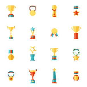 Award icons flat set of trophy medal winner prize champion cup isolated vector illustrationのイラスト素材 [FYI03067580]