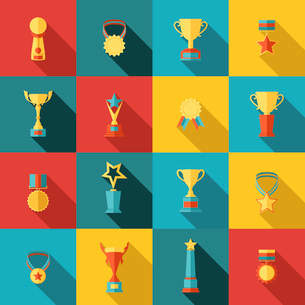 Trophy icons flat set of medallion success award winner medal isolated vector illustrationのイラスト素材 [FYI03067582]