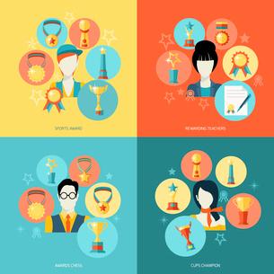 Trophy icons flat set of sport award rewarding teachers chess champions isolated vector illustrationのイラスト素材 [FYI03067584]