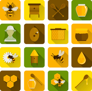 Bee honey icons flat set with beekeeper honeycomb beehive isolated vector illustrationのイラスト素材 [FYI03067599]