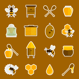 Bee honey icons stickers set with spoon jar bumblebee isolated vector illustrationのイラスト素材 [FYI03067600]
