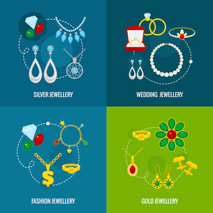 Jewelry icons flat set of silver gold wedding fashion jewellery isolated vector illustrationのイラスト素材 [FYI03067602]