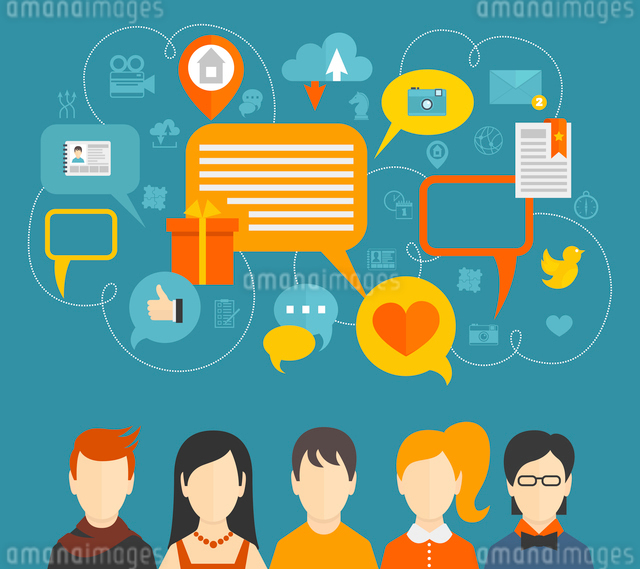 Social network media icons concept with people avatars and speech bubbles vector illustration.のイラスト素材 [FYI03067604]