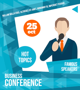 Public speaking business conference famous speaker person poster vector illustrationのイラスト素材 [FYI03067611]