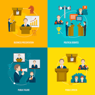 Public speaking flat icons set of business presentation political debates figure speech isolated vecのイラスト素材 [FYI03067612]