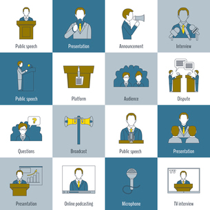 Public speaking flat line icons set with speech presentation announcement interview isolated vectorのイラスト素材 [FYI03067613]