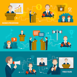 Public speaking banner set of business presentation public figure isolated vector illustrationのイラスト素材 [FYI03067615]