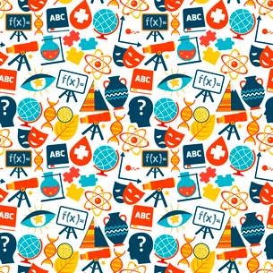 Education colored seamless pattern with science areas symbols vector illustrationのイラスト素材 [FYI03067622]