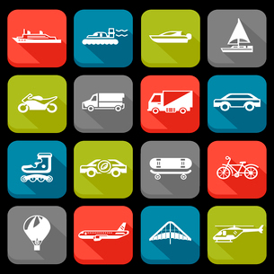 Transport flat icons set with roller skate balloon plane isolated vector illustrationのイラスト素材 [FYI03067633]