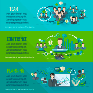 Meeting people horizontal banner set with team planning conference isolated vector illustrationのイラスト素材 [FYI03067640]