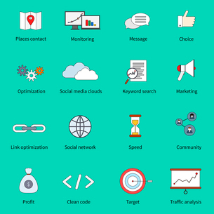 SEO marketing flat line icons set with places contact monitoring message choice isolated vector illuのイラスト素材 [FYI03067641]