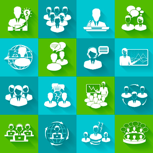 Business meeting white icons set of conference brainstorming group elements isolated vector illustraのイラスト素材 [FYI03067642]