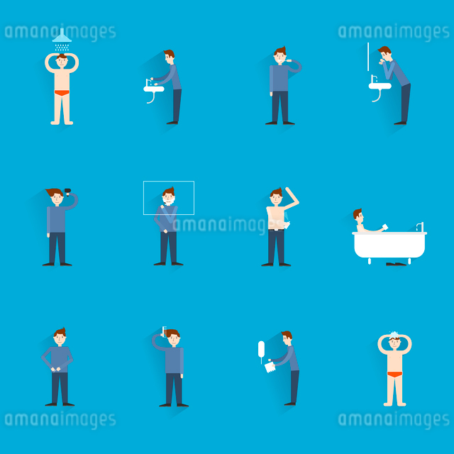 Hygiene icons flat set with people figures washing body cleaning isolated vector illustrationのイラスト素材 [FYI03067643]