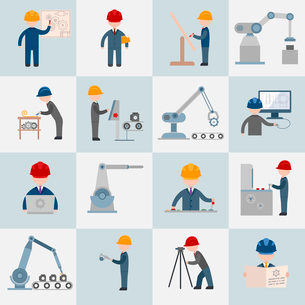 Engineering construction worker machine operator mechanic flat icons set isolated vector illustratioのイラスト素材 [FYI03067649]