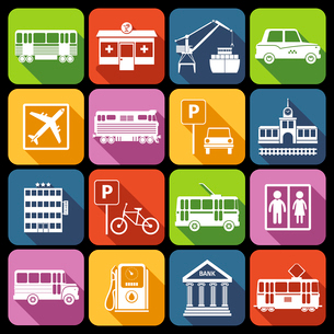City infrastructure icons white set with airport metro parking station isolated vector illustrationのイラスト素材 [FYI03067650]