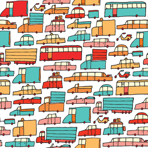 Cartoon cars seamless patternのイラスト素材 [FYI03067660]