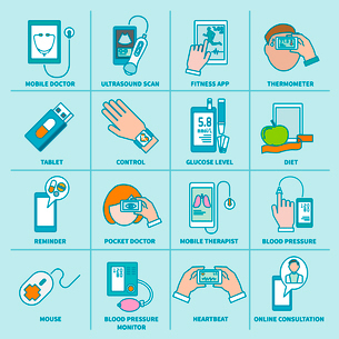 Digital health icons flat line set of mobile doctor ultrasound scan fitness app isolated vector illuのイラスト素材 [FYI03067663]
