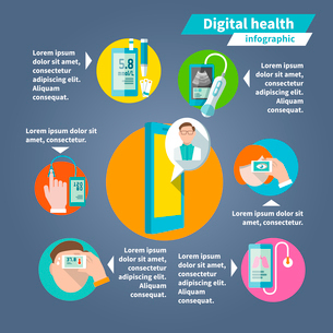 Digital health mobile medicine flat infographics set vector illustrationのイラスト素材 [FYI03067666]