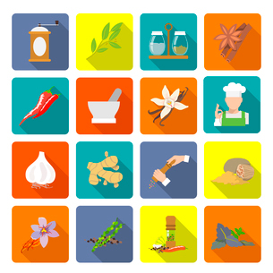 Herbs and spices flat icons set of ginger cinnamon mortar and pestle isolated vector illustrationのイラスト素材 [FYI03067667]