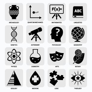 Science areas black icons set with archaeology quantum mechanics mathematics isolated vector illustrのイラスト素材 [FYI03067669]