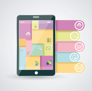 Smartphone with stylish modern colorful user interface on a screen.のイラスト素材 [FYI03067691]