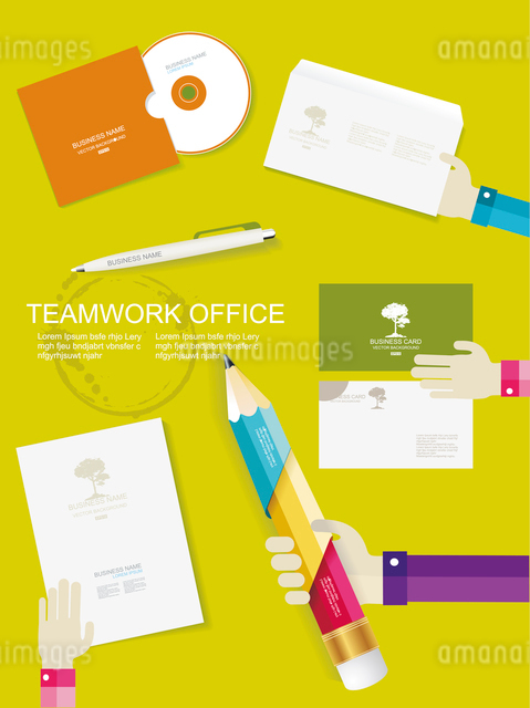 Set of office and business work elements in flat designのイラスト素材 [FYI03067697]