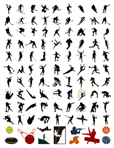 Collection of silhouettes of sportsmen. 100 silhouettes of sportsmen and stock. A vector illustratioのイラスト素材 [FYI03067720]