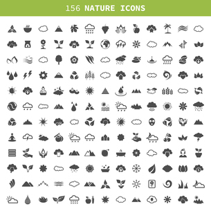 Collection of icons of the nature. A vector illustrationのイラスト素材 [FYI03067737]