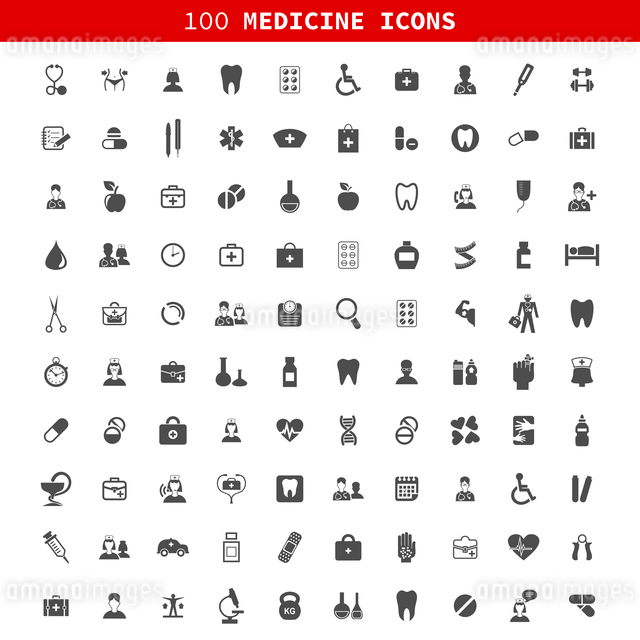 Collection of icons of medicine. A vector illustrationのイラスト素材 [FYI03067738]