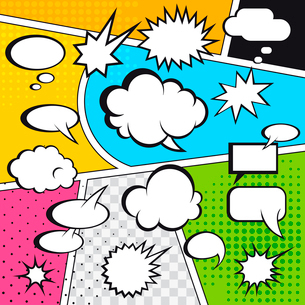 Comic speech bubbles and comic strip on colorful halftone background vector illustrationのイラスト素材 [FYI03067762]