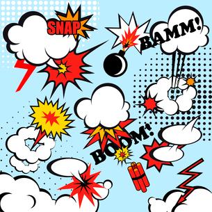 Boom comic snap humor fun template design for superhero book vector illustrationのイラスト素材 [FYI03067763]