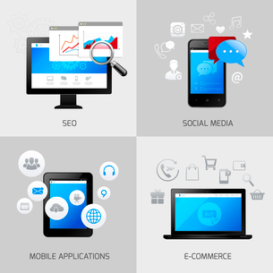 SEO web mobile concepts social media application e-commerce icons set isolated vector illustrationのイラスト素材 [FYI03067768]