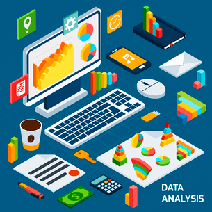 Isometric data analysis business icons set with laptop and office stationery vector illustrationのイラスト素材 [FYI03067775]