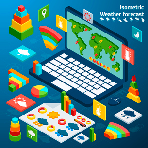 Weather forecast isometric icons buttons set with open laptop vector illustrationのイラスト素材 [FYI03067795]