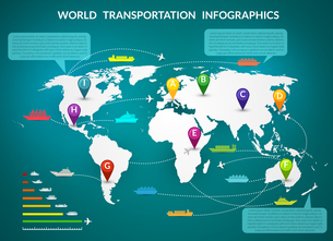 Transportation logistic infographics elements with world map and delivery chain vector illustration.のイラスト素材 [FYI03067798]