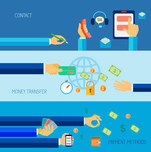 Human hands holding contact money transfer payment methods objects  flat banner set isolated vectorのイラスト素材 [FYI03067807]