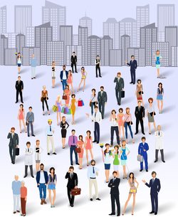Large group crowd of people on city skyline background poster vector illustrationのイラスト素材 [FYI03067811]
