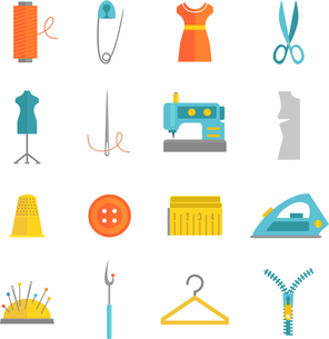 Sewing equipment and dressmaking accessories icons set with needle tape measure zipper flat isolatedのイラスト素材 [FYI03067812]