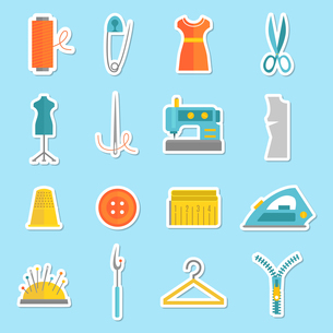 Sewing equipment and tailor needlework stickers set with button thimble pin isolated vector illustraのイラスト素材 [FYI03067814]