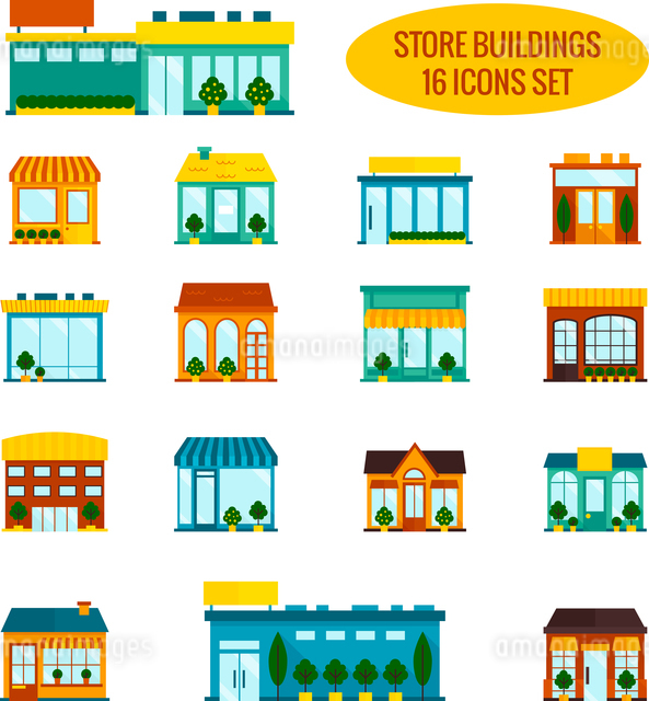 Store shop front window buildings icon set flat isolated vector illustrationのイラスト素材 [FYI03067823]
