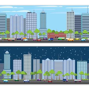 Modern urban building on street cityscape skyline tileable borders set isolated vector illustrationのイラスト素材 [FYI03067824]