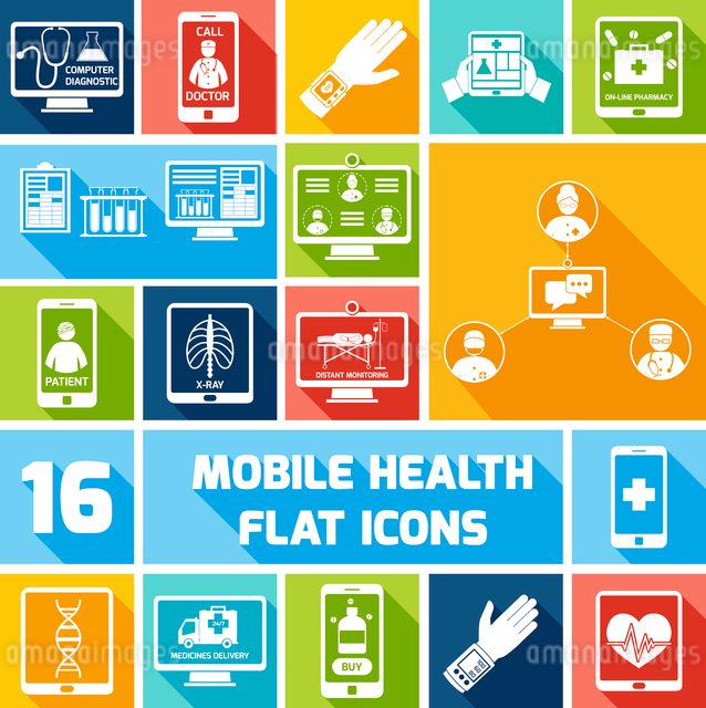 Mobile health medicines delivery x-ray monitoring icons flat set isolated vector illustrationのイラスト素材 [FYI03067827]