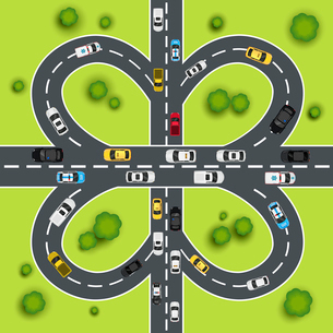 Highway traffic cloverleaf intersection top view background vector illustrationのイラスト素材 [FYI03067830]