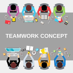 Business team teamwork concept top view office people group on long table vector illustrationのイラスト素材 [FYI03067835]