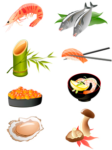 sushi and other traditional japanese food iconsのイラスト素材 [FYI03067866]