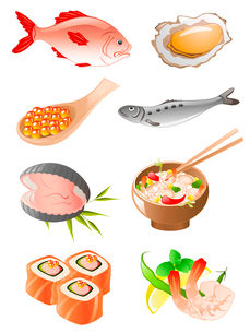 set of  fish and  seafood iconsのイラスト素材 [FYI03067867]